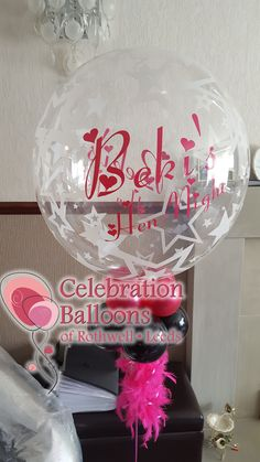 Personalised hen night balloons from www.balloonsleeds.com Balloon Pictures, Celebration Balloons, Wedding Balloons, Hens Night, Wakefield, The Balloon, Leeds, Wine Glass, Deco