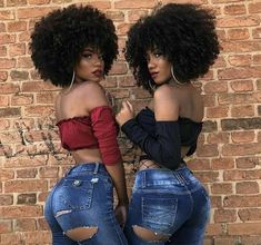 2 times the beauty✌🏿 afro-cocoa-cheeks🌰 Black Is Beautiful, Beautiful Women, Beautiful People, Brown Skin, Dark Skin, Curly Hair Styles, Natural Hair Styles, Pelo Afro, Ebony Beauty
