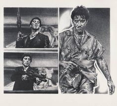 Scarface Al Pacino Original Sketch Prints - Poster Size - Black & White - Print of Highly-Detailed, Handmade Drawing By Artist Mike Duran   http://citymoonart.com/scarface-al-pacino-original-sketch-prints-poster-size-black-white-print-of-highly-detailed-handmade-drawing-by-artist-mike-duran/
