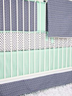 Mint & Navy Chevron Crib Bedding Set by Caden Lane