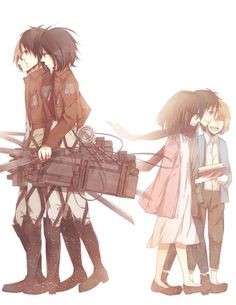 Eren, Mikasa, and Armin, before and after