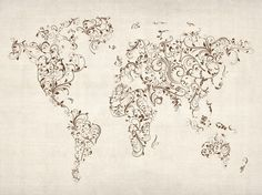 "Trademark Art ""World Map - Swirls"" by Michael Tompsett Graphic Art on Wrapped Canvas Artist Canvas, Abstract Canvas, Canvas Wall Art, Canvas Prints, Mondrian, Thing 1, Art Graphique, Art World, Swirls"