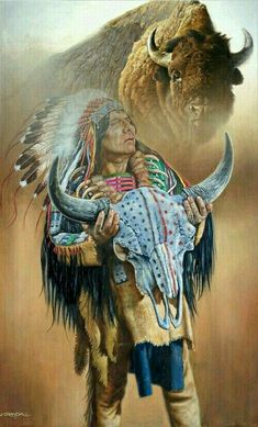Sacred Skull oil by Jerry Crandall - Western Art - Original Paintings Native American Warrior, Native American Wisdom, Native American Beauty, American Indian Art, Native American History, American Indians, Native American Paintings, Native American Pictures, Native American Artists