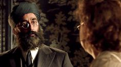 "Mr. Amanjit (Art Malik) and Blanche (Alex Kingston) in Upstairs Downstairs 2.2: ""The Love that Pays the Price"""