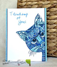 ScrappyHorses; Scribbles Designs; Blue; cat;  Thinking of you card