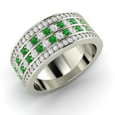 Round Emerald Ring in 14k White Gold with SI Diamond