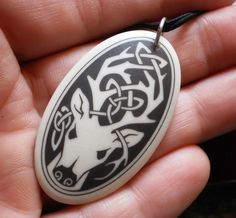 Porcelain Oval CELTIC Knot STAG Deer PENDANT Protector of Nature Wicca Jewelry