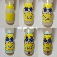 NEW HAIR IDEAS NAIL DESIGNS AND MAKE UP TUTORILS EVERYDAY: Step by Step Nail Art Design Bob Sponge