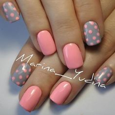 Cute polka dots :) pink and gray nails