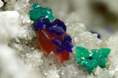 Colorful combination of Tyrolite, Azurite, Erythrite