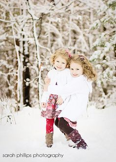 i think these girls are so adorable. great picture idea - winter