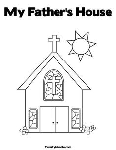 Church with Stained Glass Window Coloring Page-Cut the doors so that they open and then glue a picture of Jesus as a boy so the kids can open the doors to find Jesus in His Father's house