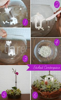 Etched center pieces... large fish bowl, etched with number, filled with flowers, candles, etc.