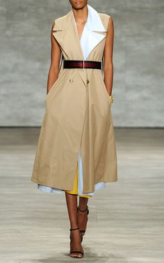 TOME SS2015 | Cotton Twill Sleeveless Trench Coat