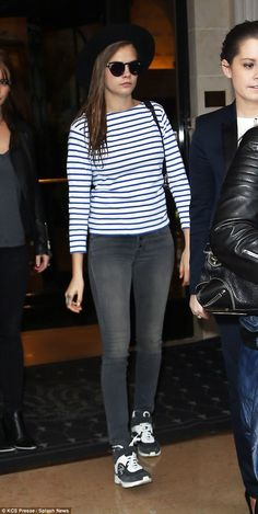 Parisian style: Cara was also spotted wearing a breton top and skinny jeans as she left her hotel in the city