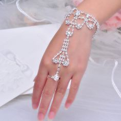 Women Crystal Rhinestone Hand Chain Slave Bracelet and Ring - Trendy Fashion
