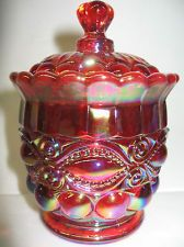 *CARNIVAL GLASS ~ Ruby red, eyewinker pattern Candy dish sugar bowl royal iridescent