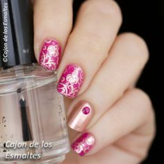 Nail art - Flowers in pink and gold Orly Hot Tropics and stamping plate  BP 17…