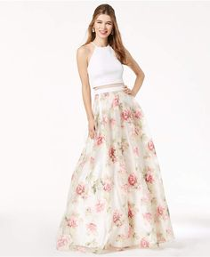 2f717ee276a33 B Darlin Juniors' Printed Illusion Gown, a Macy's Exclusive Style - Ivory  Floral 0