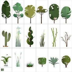 Ideas For Tree Architecture Vector Plant Illustration, Landscape Illustration, Landscape Sketch, Landscape Design, Architectural Trees, Architectural Drawings, Vector Trees, Plant Vector, Prop Design
