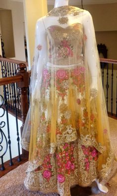 Peach gold Bridal Lehenga