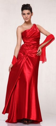 Red Evening Dress with Rhinestone Straps One Shoulder Long Satin Gown