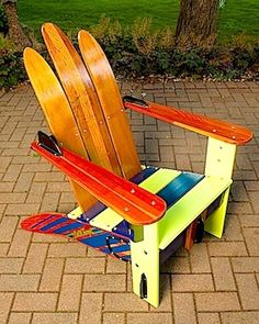 Vintage > chair made from water skis