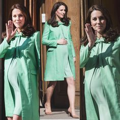 Kate looked radiant in a bespoke mint green Jenny Packham coatdress with bow detail at the collar and a matching dress. It's a great look for Spring! Kate wore her lower heeled praline Gianvito Rossi 85 pumps. Kate carried her $275 Loeffler Randall 'Tab' clutch. Kate accessorised with her Kiki McDonough green amethyst and diamond cushion cut earrings. via ✨ @padgram ✨(http://dl.padgram.com)