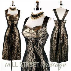 Vintage 1950s Black/Metallic Gold  Cocktail Dress