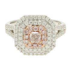GIA CERTIFIED 18K White Gold Cushion Cut Pink Diamond Ring