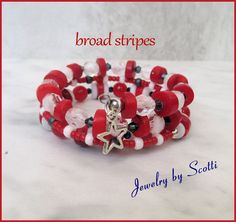 Red White and Blue Coil Bracelet // Broad by JewelryByScotti