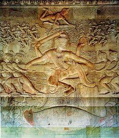 The Churning of the Ocean of Milk bas-relief. Angkor Wat. Cambodia. Hindu, Angkor Dynasty. ca. 800–1400 C.E. Stone masonry, sandstone.