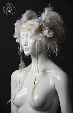 Off white ostrich feather headdress / Champagne feather flower bridal headpiece with peacock tassels / Tribal fusion / Alternative wedding