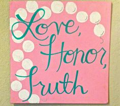 "Items similar to Phi Mu Canvas - ""Love, Honor, Truth"" on Etsy Phi Mu Canvas, Sorority Canvas, Sorority Life, Gamma Phi Crafts, Sorority Crafts, Pi Beta Phi, Kappa Delta, Bob Marley, Greek Crafts"