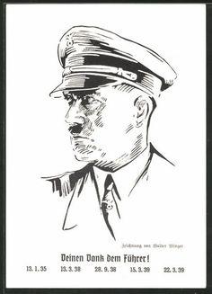 old postcard: Künstler-AK Dein Dank dem Führer! Portrait Führer Adolf Hitler, Ganzsache