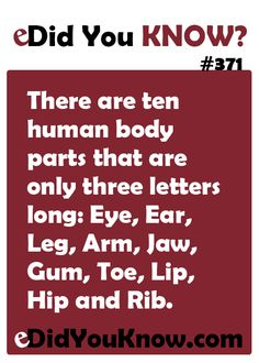There are ten human body parts that are only three letters long: Eye, Ear, Leg, Arm, Jaw, Gum, Toe, Lip, Hip and Rib. http://edidyouknow.com/did-you-know-371/