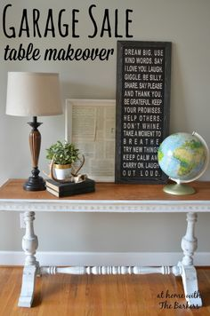 Garage Sale Table Makeover @sfruson  it's your table exactly. Maybe for the front entry in front of your blackboard?