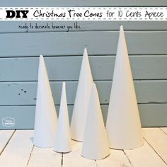 How to Make Christmas Tree Cone Craft Forms for 10 Cents Apiece Make these cones for 10 cents apiece and use them to create your own gorgeous mini Christmas Trees- full tutorial at The Happy Housie How To Make Christmas Tree, Cone Christmas Trees, Christmas Tree Crafts, Christmas Deco, Simple Christmas, Christmas Projects, Winter Christmas, Cone Trees, Christmas 2019