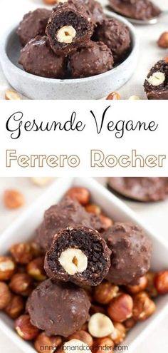 Vegane Ferrero Rocher Pralinen. Diese einfachen gesunden Schoko Haselnuss Pralinen sind das perfekte Geschenk aus der Küche! Zuckerfrei, gluten-frei und vegan! #pralinen, #weihnachtsrezepte