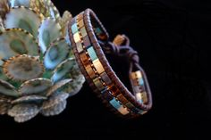 Brown Leather Single Wrap with Multi-Colored Half by beadbound