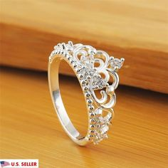 Women Princess Silver Plated Crown Ring Wedding Engagement Ring Jewelry Size 6-9