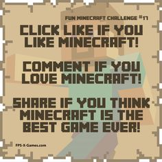 Fun Minecraft Challenge No17 - Like, Comment & Share.  social game. #minecraft #funminecraftchallenge