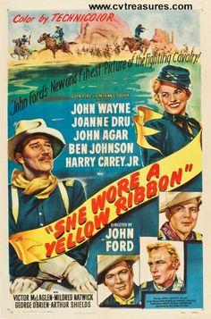 "Vintage John Wayne movie posters...She Wore a Yellow Ribbon, 1949  Original Vintage One Sheet Movie Poster (27x41"")  Starring John Wayne.. At Conway's Vintage Treasures"