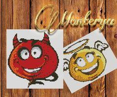 Angel and Devil smiley emotion cartoon Cross Stich di Monterya
