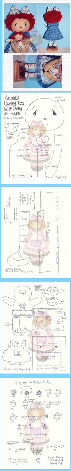 annie's having tea Doll Patterns, Doll Clothes Patterns, Marionette, Ann Doll, Fabric Dolls, Rag Dolls, Paperclay, Doll Tutorial, Sewing Dolls