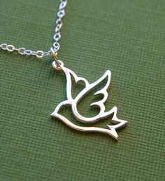 Large dove pendant necklace in sterling silver by jersey608jewelry, $29.00
