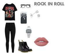 """Look rock"" by willi-pinheiro on Polyvore featuring moda, Levi's, Dr. Martens, Casio, Amanda Rose Collection e Lime Crime"