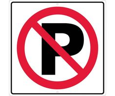 """No Parking With Symbol, National Marker TM205J, 24""""x24"""", Black And Red On White, 85 Percent Recycled .080"""" Engineering Grade Reflective Aluminum Traffic Directional Sign With 2 Holes For Post Mounting - Each"""