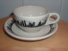 Homer Laughlin Black & White New York City Skyline Cup & Saucer made exclusively for Fishs Eddy | WorthPoint