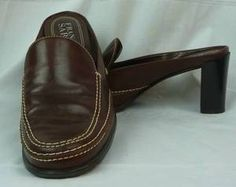 "Franco Sarto Brown Leather Mules 2 5"" Heels Size 8 M 